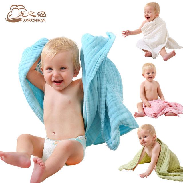 Baby bath towel 100% algodón absorbente de secado baño new born baby beach towel toalla gasa bebé manta de los niños toallita