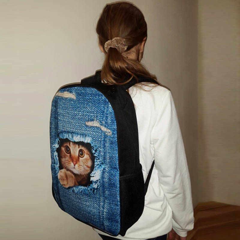609d22fe4875 ... Backpack Childrens School Bags for Teenage Girls Cute Denim Cat Dog  Schoolbags Kids Bookbag 3D Cartoon