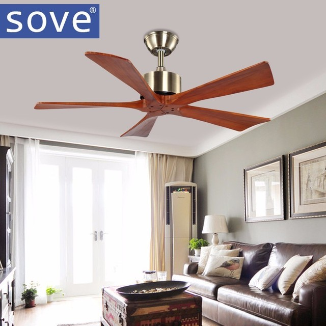 42 Inch  Bronze Village Wooden Ceiling Fan With Remote Control Attic Without Light Fan Bedroom Home 220v Wood Blade Ceiling Fan
