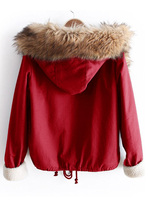 Women Fleece Lined Jacket With Faux Fur Trim Hooded Coat Fashion Pocket Patched Long Sleeve Hooded