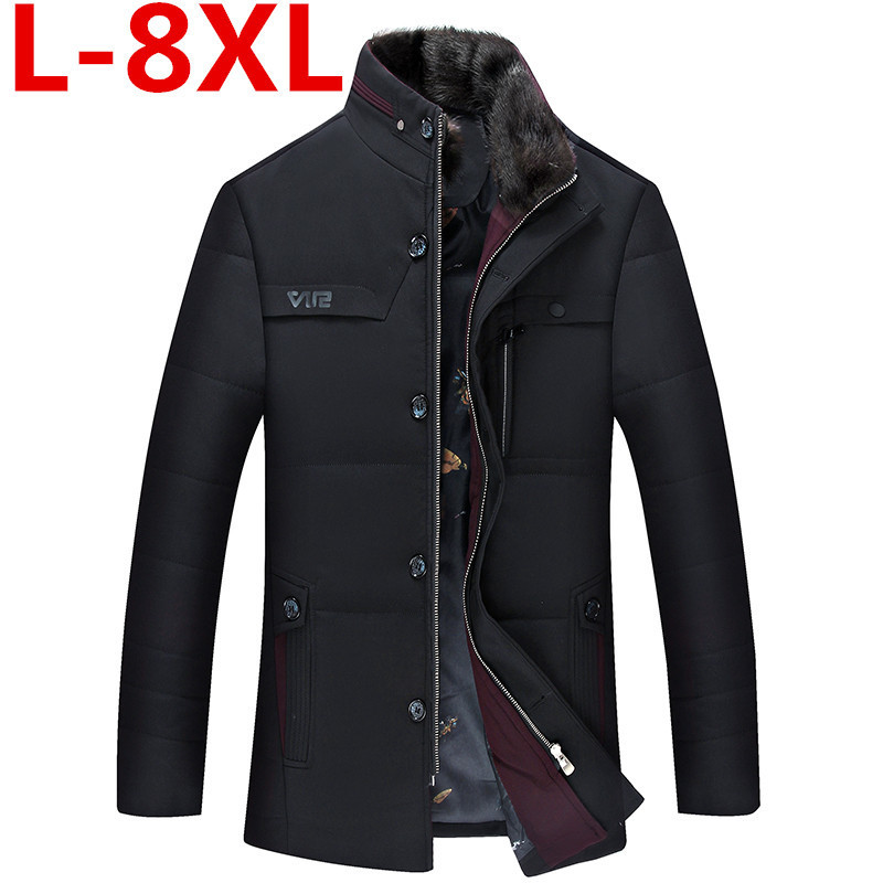 plus size 8XL7XL 6XL Thick Warm Winter Leisure Cotton-Padded Down Jacket Men Detachable collar Coat Parkas Genuine Fur Big Size органайзер для аксессуаров и украшений homsu bora bora 46 х 75 см