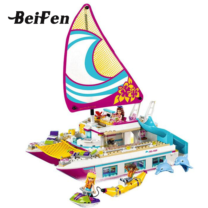lepine Girl Series Friends 41317 Sunshine Catamaran Building Blocks Brick LegoINGlys Sailboat Set Children Toy Gift Lepine 01038 10494 city supermarket building bricks blocks set girl toy compatible lepine friends 41118