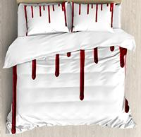 Horror Duvet Cover Set King Size Flowing Blood Horror Spooky Halloween Zombie Scary Phrase Themed Illustration Bedding Set Red