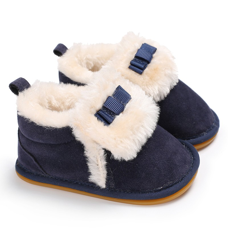 Baby Boys Girls Shoes Autumn Winter First Walkers Kids Cute Bow Tie Add Plush Warm Children Shoes