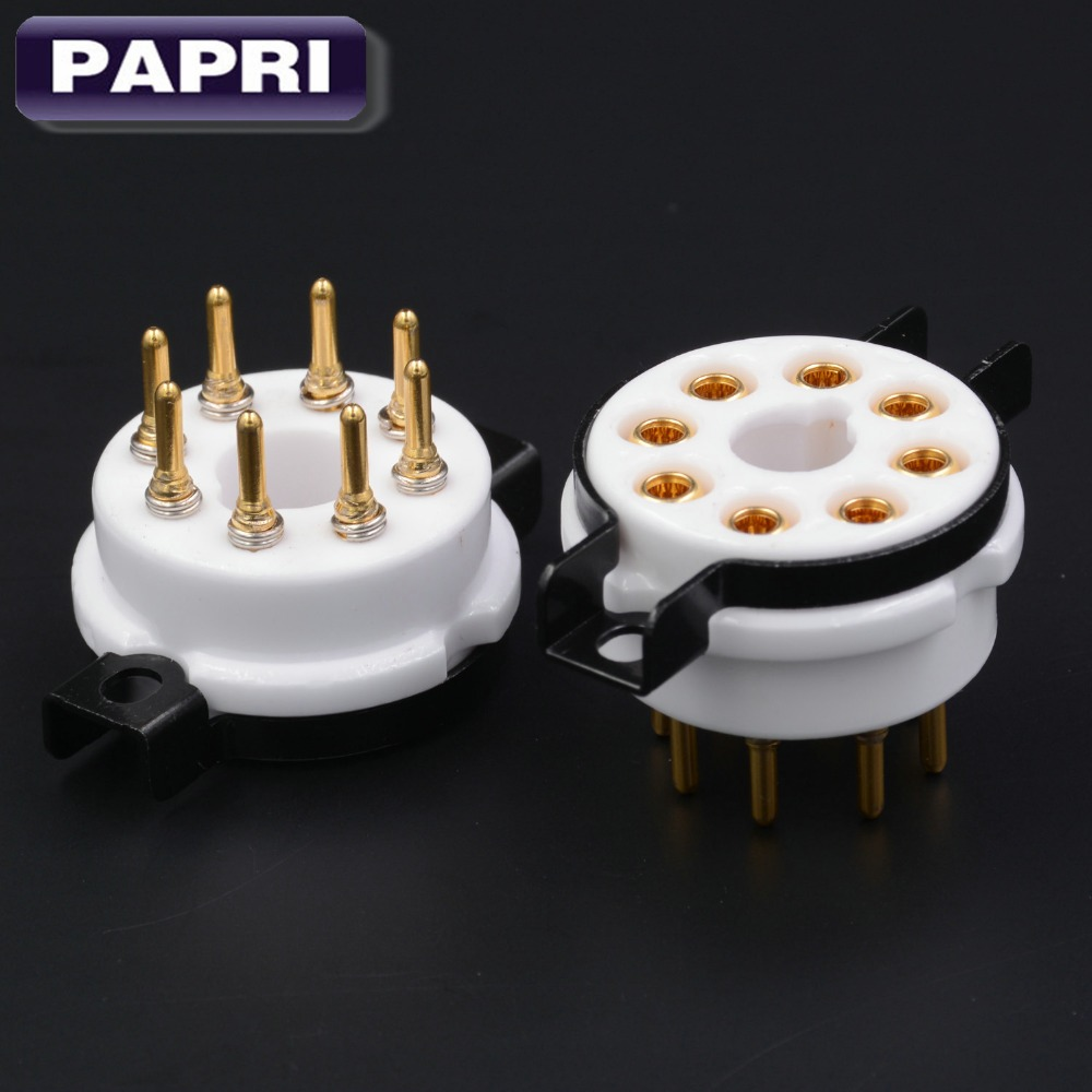 EIZZ 4PCS High Quality Ceramic K8A 8pin Tube Socket Base Gold Plated Brass Pin For KT66