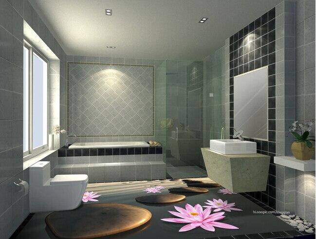 Bathroom tile 3d inkjet background decorative ceramic for Bathroom design online 3d