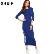 Шеин пикантные Платья Новое поступление 2017 года Футляр Для женщин синий полосатый сбоку три четверти Длина Sleeve Sheath Dress