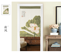 New Chinese style classical lotus flower wind window blind water Japanese cotton and linen door curtain porch home decoration