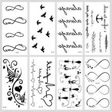 MB классические черные татуировки, кошка, птица, поддельные татуировки, тату для рук, водостойкие Временные татуировки, наклейки, маленькие татуировки