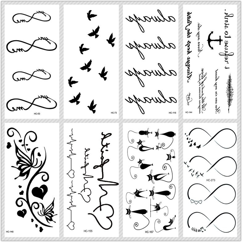 MB Classic Black Tatoo Cat Bird Fake Tattoo Tatuajes Hand Tatouage Body Waterproof Temporary Tattoo Sticker Small Taty circle