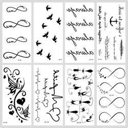 MB классический черный татуировки кошка птица поддельные татуировки Tatuajes ручной Tatouage тела Водонепроницаемый Временные татуировки Стикеры