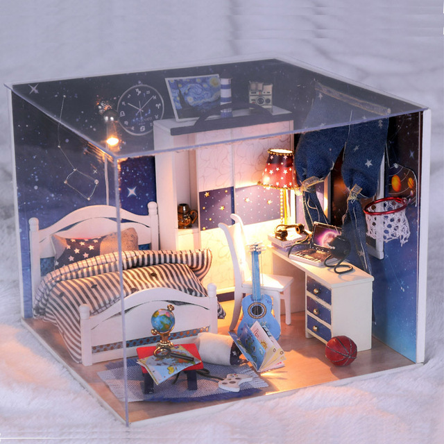 Diy 1:24 3D Wooden Doll House Miniatura Furniture Wood Dollhouse Miniature Houses toys Birthday Gift-Take you to see the stars