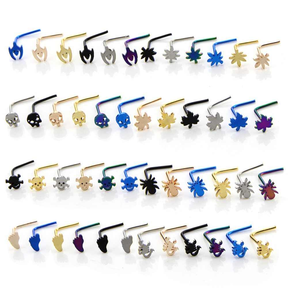 6 Pcs Set Multicolor Spider Nose Piercing Rings Surgical Steel 0 6