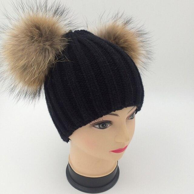 Double Real Nature Raccoon Fur Pompom Hat Winter Fur Poms Women Wool Knit Beanie Bobble Ski Cap Pompon Beanie Gorro Thick Bonnet