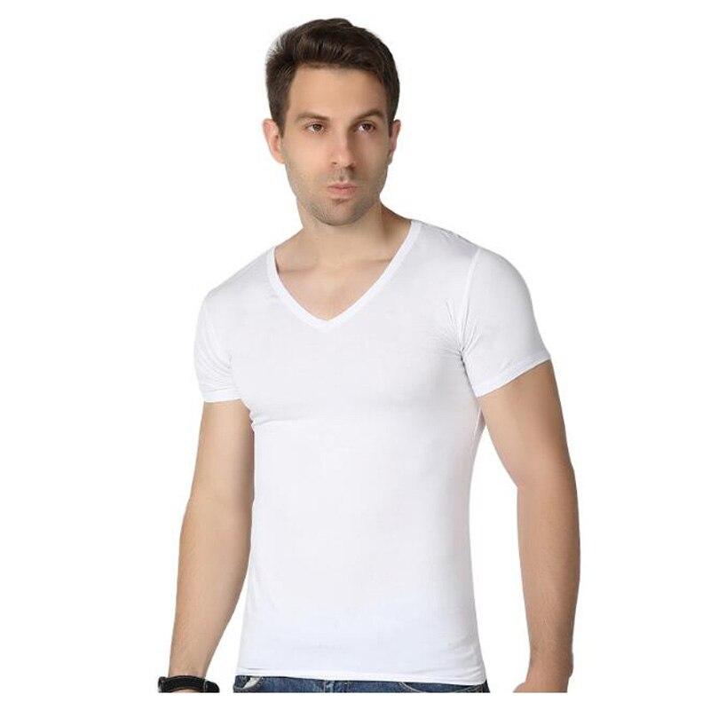Ajuste Músculo borgoña Bambú Manga Corta gris Los cuello Xl Fibra verde Camiseta Hombres Del Sólido blanco Szie Negro Militar Camisetas De La Elástico 6xl V Color xOq4ZCw