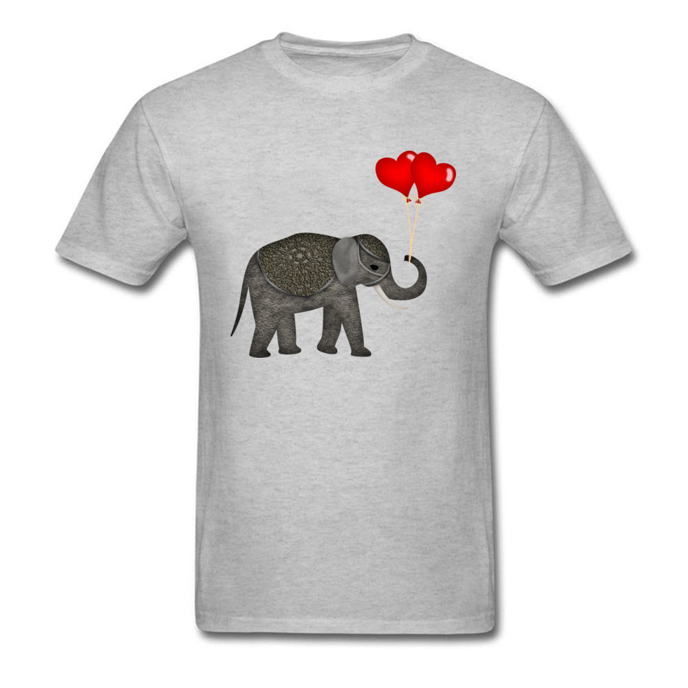 Elephant with Balloons New Design Men Top T-shirts Round Collar Short Sleeve Pure Cotton Tops T Shirt Design Sweatshirts