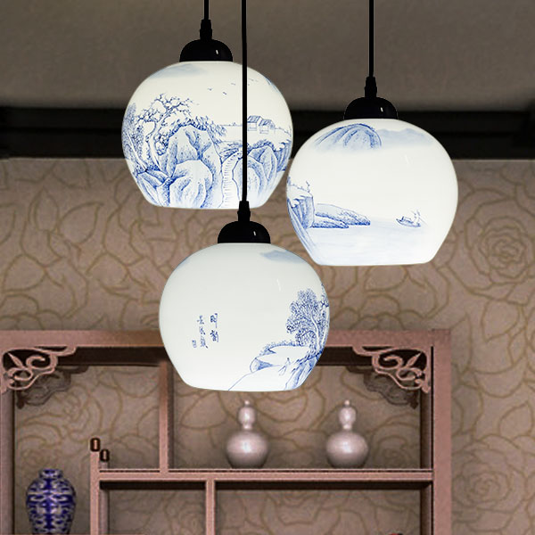Stairs Ceramic lamp 1/3/6 heads landscape six pendant lights modern Chinese style lamps stairs villa lamp ZA ZS20 porcelain ceramic stairs lights ceramic pattern chinese pendant lights rotating staircase lamp restaurant pendant lamps za