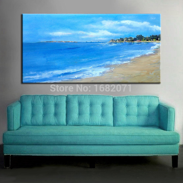 2017 New Paint High Quality Abstract Landscape Blue Sea Sky Oil Painting On Canvas Impression Acrylic In Calligraphy From