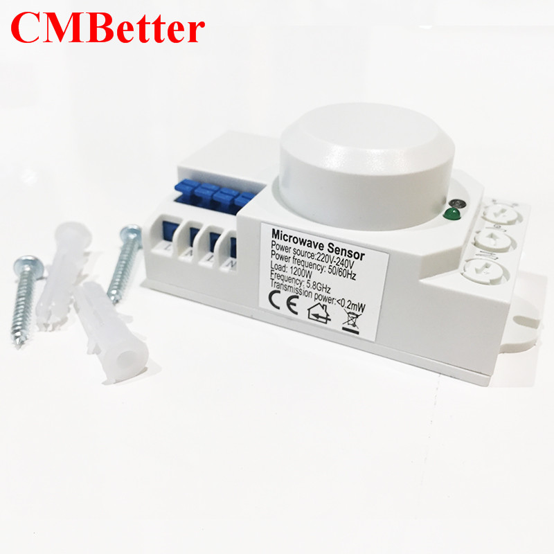 CMBetter New Electric High Frequency AC 220V-240V 5.8GHz Microwave Radar Sensor Body Motion HF Detector Light Switch Sensors xsav11801 inductive proximity switch speed sensor motion rotate detector 0 10mm dc ac 24 240v 2 wire 30mm replace telemecanique