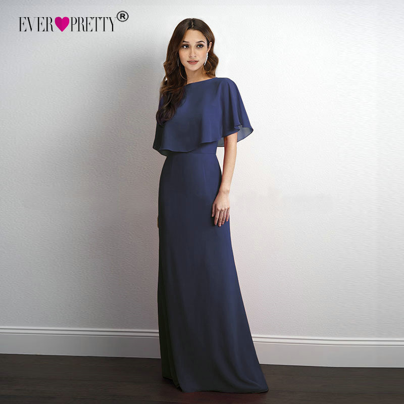 Evening     Dresses   Long 2018 Ever Pretty Cheap Elegant Navy Blue A-line Chiffon   Evening   Gowns For Women Short Sleeve Robe De Soiree
