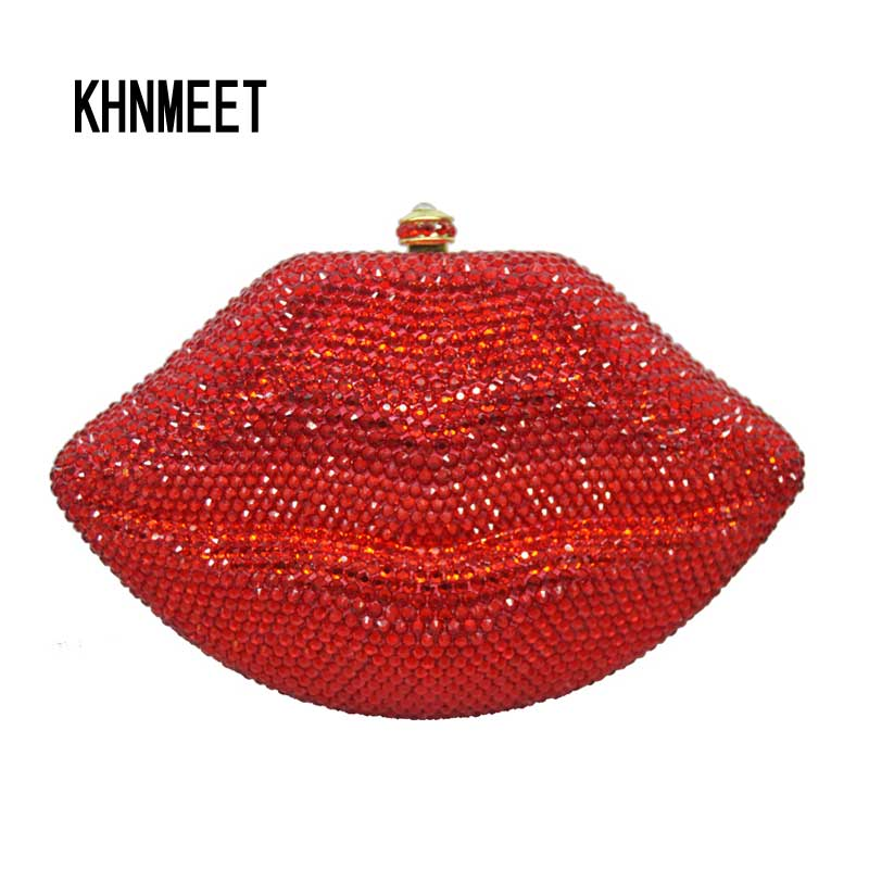 LaiSC Diamond studded Patter Clutch Crystal Party Bag Evening Dress Red Lip Wedding Purse Day Clutches