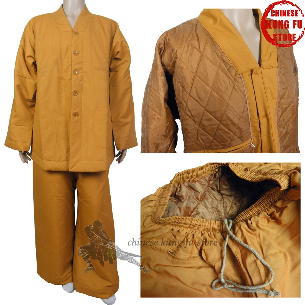 Top Quality Shaolin Monk Zen Buddhist Winter Quiltted Uniform Lay Master Kung Fu Training Meditation Suit Buddhist Clothing