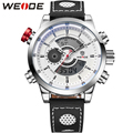 WEIDE Novos Homens Da Moda Relógios De Pulso De Luxo Famosa Marca de Relógio Pulseira de Couro dos homens Relógios Desportivos Com Alta Qualidade À Prova D' Água