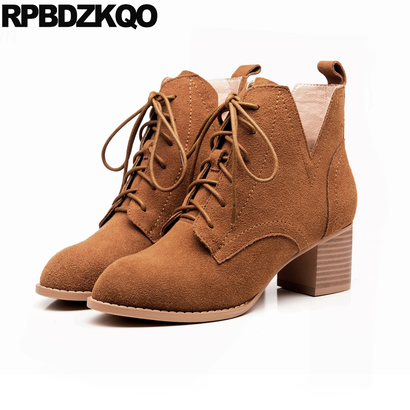 Short Brown High Quality Chunky Fall Round Toe Front Lace Up Casual Ankle Boots Autumn Shoes Genuine Leather Women Booties Heel 2017 new genuine leather elastic band chunky women ankle boot casual round toe anti skid spring autumn flat short boots zy170919