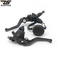 ZS RacingUniversal CNC 7 8 22mm Black Motorcycle Brake Clutch Levers Master Cylinder Reservoir Set For