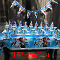 152Pcs/Lot Disney Frozen Disposable Tableware Sets Kids Birthday Party Baby Shower Festival Celebrate Decoration Event Supplies