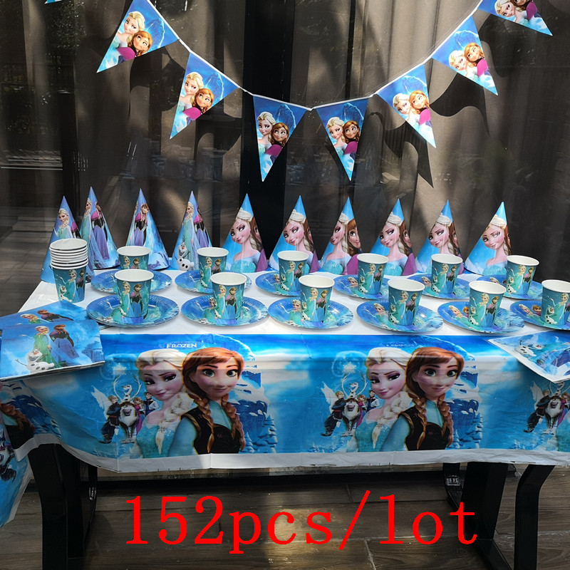 152Pcs/Lot Elsa & Anna Disposable Tableware Sets Kids Birthday Party Baby Shower Festival Celebrate Decoration Event Supplies