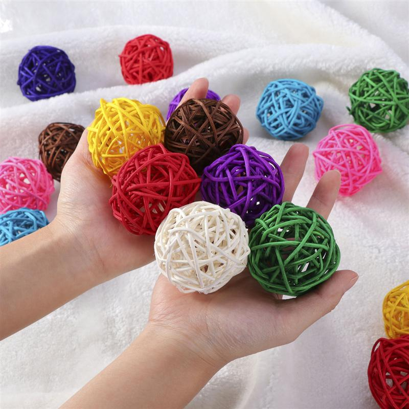 Low Price 5pcs Wicker Rattan Ball Wedding Christmas Party Hanging Dec Nursery Mobiles 3cm assorted Color