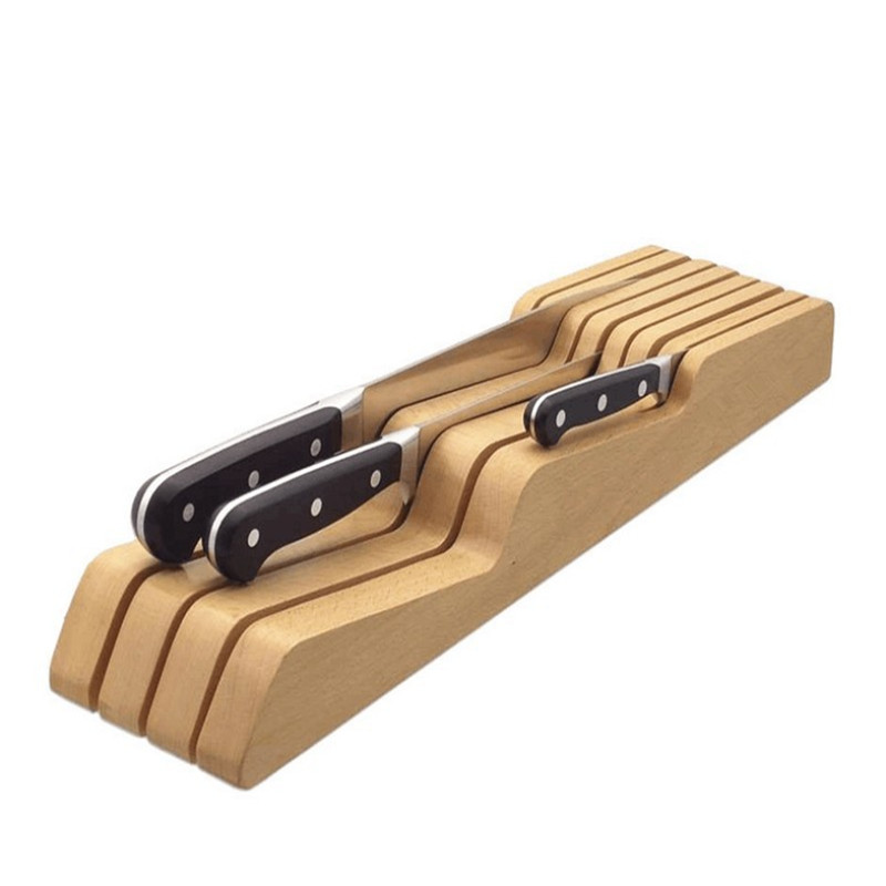 Wood Kitchen Utensil Holder Knife Holder Max For 9 Knives Suitable For Put Into Drawer