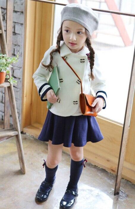 Одежда для девочек двубортный Колледж пальто юбка костюм дети полный хлопок из двух частей Детская одежда белый темно-синий