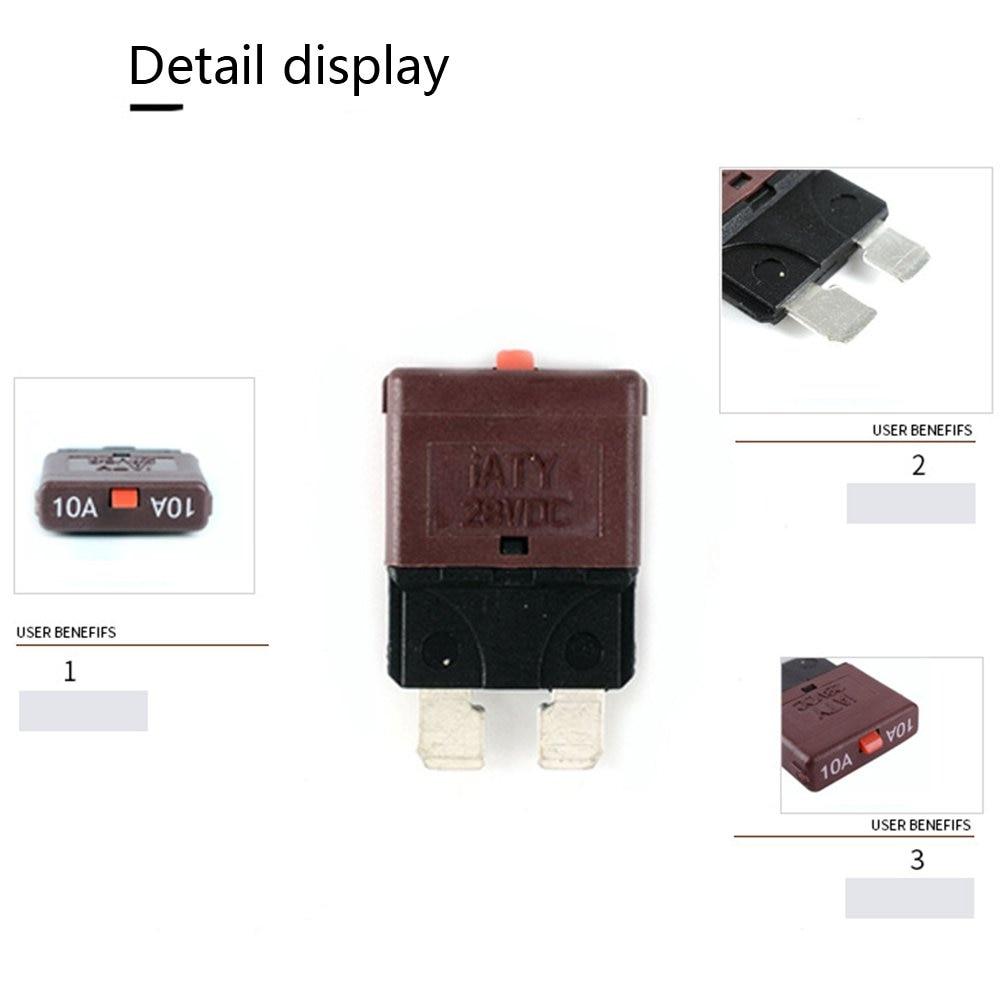 10a fuse 12v/24v fits circuit breaker blade automotive car kit resettable  inline fuse holder