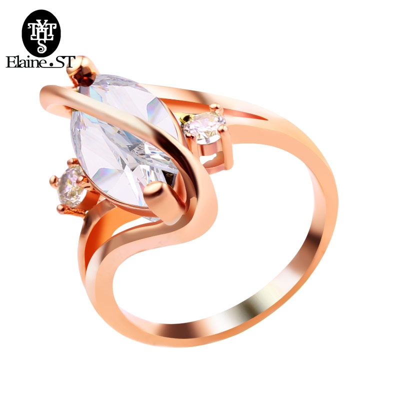 Wholesale Fashion Rose Gold Color Ring Pretty Women Rainbow Red White Colours Cubic Zirconia Jewelry Factory Direct Sale