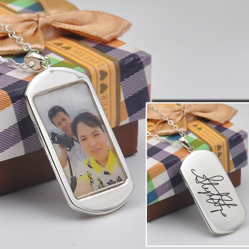925 Silver Dog Tag Photo Locket Custom Your Image Engraving Words Necklace Personalized Couple Pendent Valentine Gift925 Silver Dog Tag Photo Locket Custom Your Image Engraving Words Necklace Personalized Couple Pendent Valentine Gift