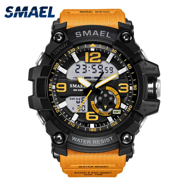 S הלם צבאי שעונים צבא גברים של שעוני יד LED קוורץ שעון Digtial הכפול זמן גברים שעון 1617 reloj hombre ספורט שעון צבא