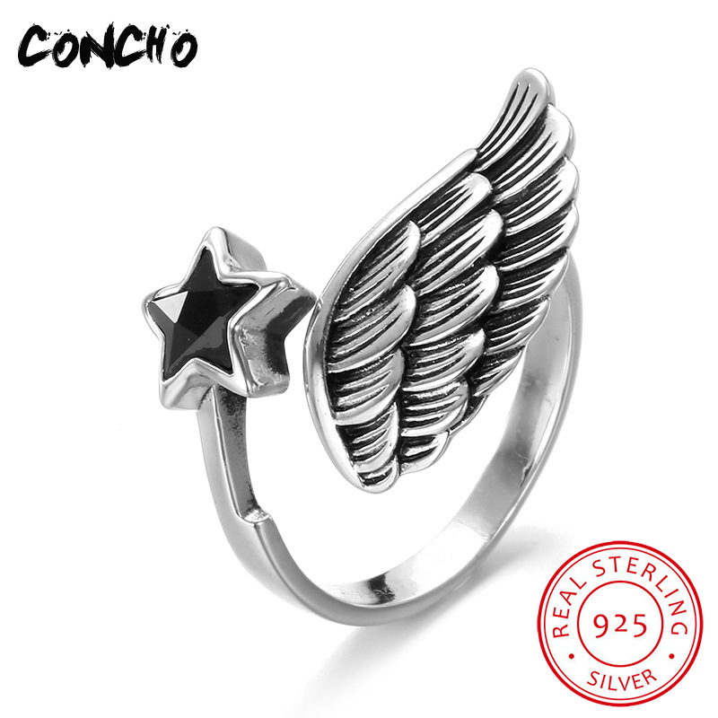 2018 vente nouvelles bandes classique Zircon partie réglage de Tension Anel Feminino Concho bijoux 925 Sterling ailes anneaux pour les femmes