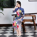 New Winter Cheongsam Chinese Traditional Dress Blue Velour Vintage Long Sleeve Stand Neck Qipao Chinese Dresses