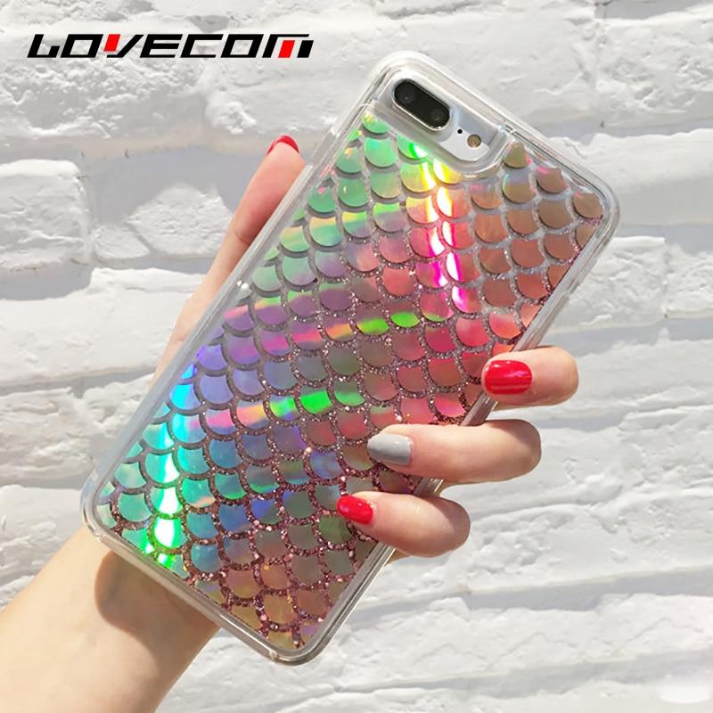 LOVECOM Dynamic Liquid <font><b>Quicksand</b></font> Glitter Laser Mermaid Sequins Soft TPU Frame <font><b>Case</b></font> Cover For iPhone 7 6 6S Plus <font><b>Phone</b></font> <font><b>Cases</b></font> Bags