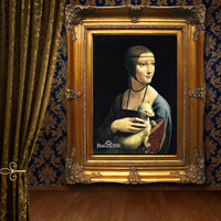 Artist hand painted art oil painting Leonardo da Vinci Lady with an Ermine home wall living room canvas painting Home Decoration