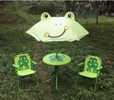Children's folding tables and chairs. Four-piece. Cartoon outdoor rain table umbrella leisure portable beach table stool exquisite cartoon cat pattern folding umbrella