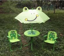 Children's folding tables and chairs. Four-piece. Cartoon outdoor rain table umbrella leisure portable beach table stool