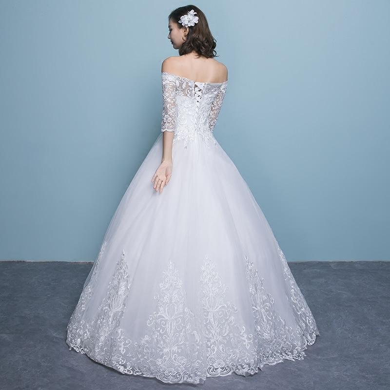 Wedding Dress 2019 New Arrival Butterfly Gelinlik Embroidery Lace Boat Neck Off the Shoulder Princess Gowns Vestidos De Novia - 5