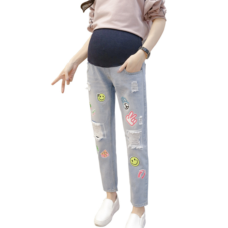 New Arrival Maternity Jeans Pants for Pregnant Women Adjustable Maternity Jeans Fashion Hole Elastic Maternity Jeans YFK58 2017 new fashion jeans women pencil pants high waist jeans sexy slim elastic skinny pants trousers fit lady jeans plus size