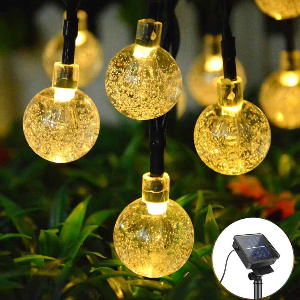 Solar Light Crystal Ball String Lawn Lamps LED Garden Garland Solar Rechargeable Waterproof String Holiday Wedding Decor Lamp