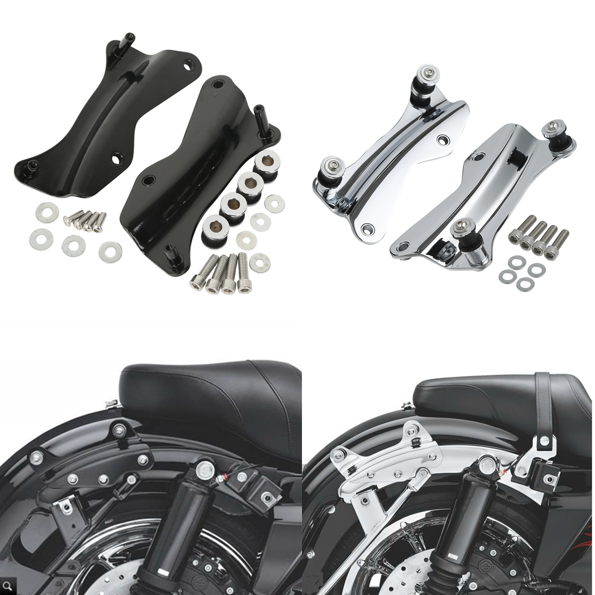4-point Docking Hardware Kit w// Cover For Harley Touring 14-17 Gloss Black