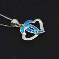 Double Heart Pendants Blue Fire Opal Necklace For Women Romantic Lover Christmas Gifts PJ180219006 4