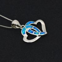 Double Heart Pendants Blue Fire Opal Necklace For Women Romantic Lover Christmas Gifts PJ180219006 4